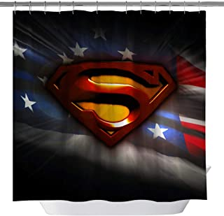 American Flag Shower Curtain,Superman Logo Custom Made Waterproof Polyester Fabric Shower Curtain for Bathroom, Bathroom Accessories with Hooks, 71X 71 in