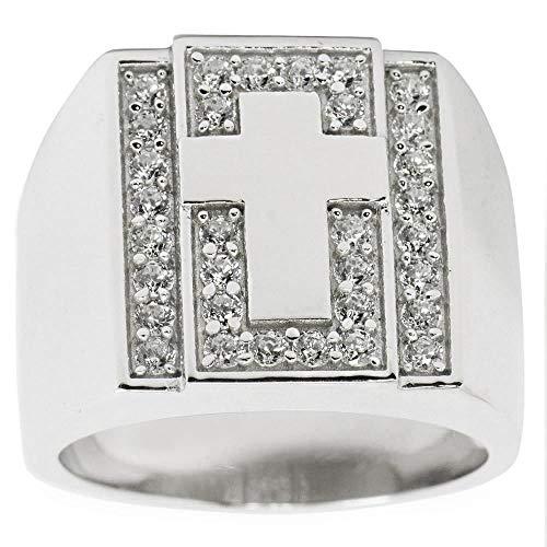 BESTPYSANKY Cross on Crystals Sterling Silver Men's Ring (Size 9)