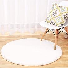 Solid Color Multi-Functional Cashmere Round Rug Living Room Bedroom Bedside Non-Slip Mat Bath Mat Washable Soft mat (Color...