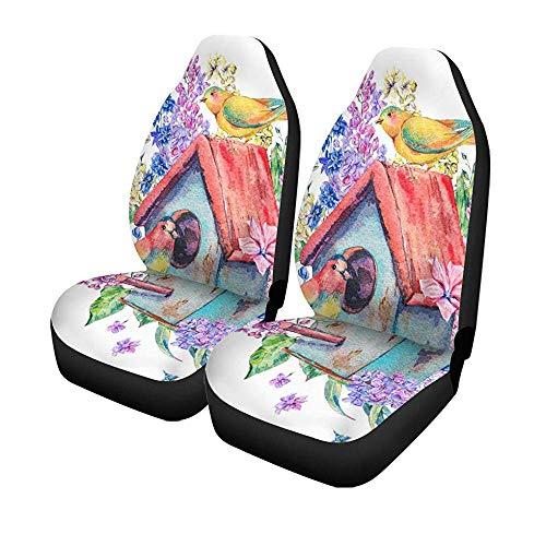 Beth-D set voor autostoelen, aquarel, vogels, sturen, voorzijde, paars, vlinder, universeel, bescherming voor autostoelen, 14-17 inch, 2 stuks