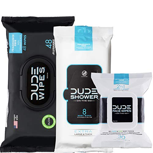 Dude Products, Flushable , Shower Body & Face Wipes, Unscented with Vitamin-E & Aloe - Head to Toe Dude Combo, 86 count
