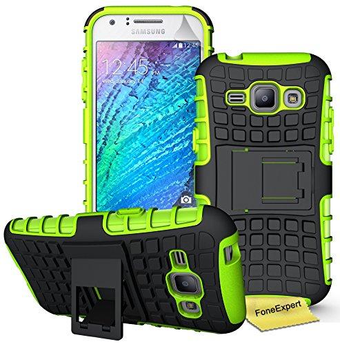 Samsung Galaxy J1 Handy Tasche, FoneExpert® Hülle Abdeckung Cover schutzhülle Tough Strong Rugged Shock Proof Heavy Duty Case für Samsung Galaxy J1 + Displayschutzfolie (Grün)