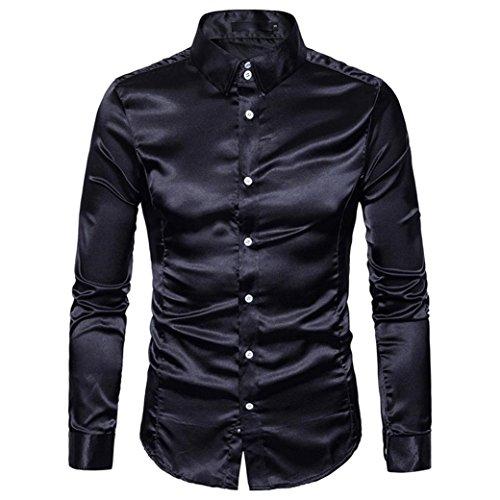 Hemden Herren LUCKYCAT 2018 Neu Fashion Trend Langarm Einfarbig Glänzende Hemden Slim Fit Hemden Modern (Schwarz, XL)