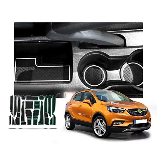 RUIYA rutschfest Auto Innere Türschlitz Arm Box Aufbewahrung Matten Pads für 2016 2017 2018 Opel Mokka X, Anti-Staub-, Tor-Schlitz-Auflage, Schalen-Matte, Automobildekoration mit Logo (Weiß)