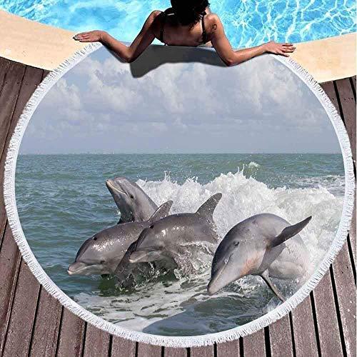 dudifeng rundes Strandtuch, Strandtuch, weiches Strandtuch mit Quasten, Atlantik-Delfine, Tursiops, Truncatus, Strandtuch, Übergröße für Frauen, geeignet für Pool im Freien (152,4 cm)