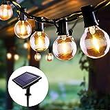 Guirnaldas Luminosas Solar de Exterior y Interior, FOCHEA 5.5M Cadena de Luz con 10 Globe Bombillas 4 Modos de Iluminación, IP44 Impermeable para Jardín Patio Dormitorio Fiesta Navidad Bodas