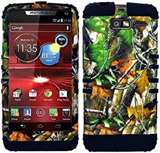 CellPhone Trendz Hybrid 2 in 1 Case Hard Cover Faceplate Skin Black Silicone and Camo Mossy Hunter Green Leaves Snap Protector for Motorola DROID RAZR M (XT907, 4G LTE, Verizon)