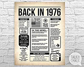 AprilLove Back in 1976 Newspaper-Style Digital Poster -Printable 40th Birthday Sign - 1976 Birthday Digital Poster - 1976 Birthday Gift - 1976 Poster