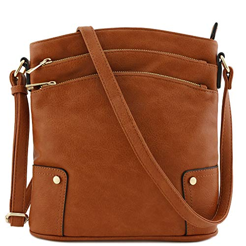 Triple Zip Pocket Large Crossbody Bag (Tan)