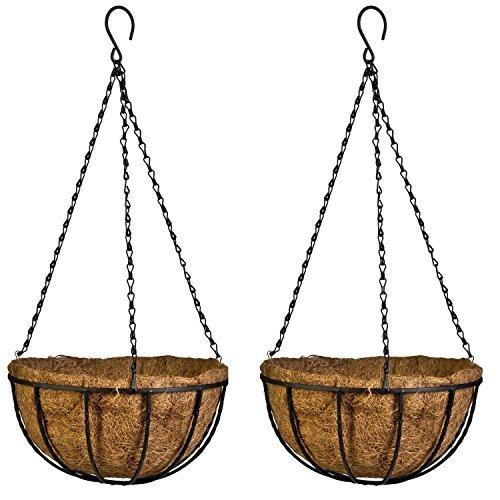 Kingbuy Lot de 2 pots de fleurs à suspendre en métal avec doublure en fibre de coco - Décoration de jardin pour véranda - 30,5 cm