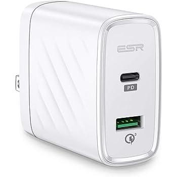 ESR QC3.0 充電器 PD急速充電器 Type-C デュアルポート 36W【PSE認証済/PD/QC3.0/Power Deliver対応】自動判別機能 充電保護 usb充電器 iPhone/MacBook/ノートパソコン/Switch、その他USB-C機器対応