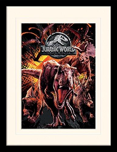 1art1 Jurassic World - El Reino Caído, T-Rex, Triceratops Póster De Colección Enmarcado (40 x 30cm)