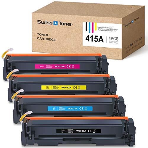 SWISS TONER CF415A Reemplazo a HP 415A W2030A |Sin Chip| ImpresoraCartucho de tóner para HP Color Laserjet Pro M454dn M454dw MFP M479dw M479fdn M479fdw,Negro Cian Magenta Amarillo