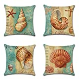 JOTOM Conch Shell Kissenbezug, Baumwolle und Leinen Kissenhülle Meer Theme Dekokissen 45 x 45cm 4er...