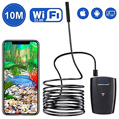 DBPOWER 2MP HD WiFi Endoscope 3.5M/11.5ft Semi-Rigid Cable 6 Adjustable Led IP67 Waterproof WiFi Borescope Inspection Snake Camera with Telescoping Handle for Android, iPhone, iPad, Samsung&Tablet