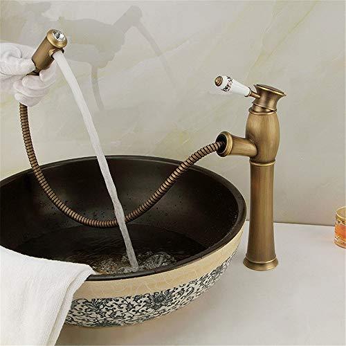 YKXWSS Antikes Ausziehbecken aus Kupfer.Waschbecken-Shampoo-heißer und kalter Wasserhahn Wasserhahn