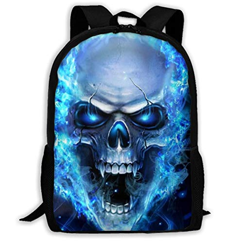 XCNGG 3D Print Blue Skull Printed Travel Backpack,Waterproof Lightweight Laptopbag Have Two Side Pockets