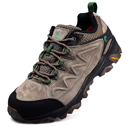 Hiking Shoes for Men Leather Climbing Trekking Shoes Outdoor Low-Top Traveling Sneakers(1520 Khaki,11.5)