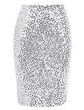 keland Mujer Sexy Falda de Lentejuelas Falda de Tubo Bodycon Faldas Midi con Purpurina de Cintura Alta (Plata, M)