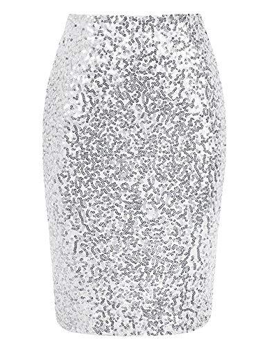 keland Damen Pailletten Rock Bleistiftrock Hohe Taille Glitzer Meerjungfrau Rock Bodycon Midi Skirt (Silber, S)