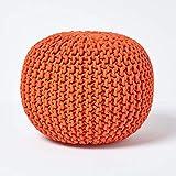 Homescapes Pouf Strickpouf rundes Bodenkissen, Sitzpouf 35 x 40 cm, gepolsterter Sitzhocker, Sitzpuff/Puff mit grob gestricktem Bezug aus 100% Baumwolle, Strickpuff, orange