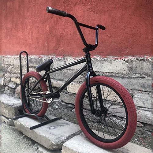 GASLIKE Bicicleta BMX de 20 Pulgadas para Adultos y Adolescentes - Nivel Principiante a avanzado, Acero al Cromo molibdeno de Alta Resistencia, Cuadro Negro/neumáticos Rojos