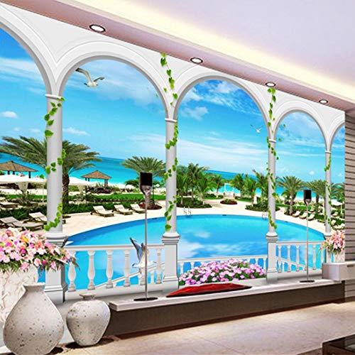 LONGYUCHEN Tapeten-Küsten-Schwimmbad-Silk Wandbild-Tapeten-Wohnzimmer-Thema-Hotel-Hintergrund-Tapete Des Wand-3D,250Cm(H)×360Cm(W)