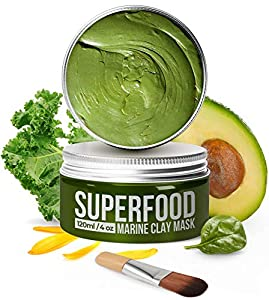 100% VEGAN Dead Sea Mud Mask with Avocado & Superfoods - Marine Clay Face Mask - Blackhead Remover - Facial Pore Minimiser - Cleanse and Detoxify the Skin - Natural for Young Looking Skin Face Masks