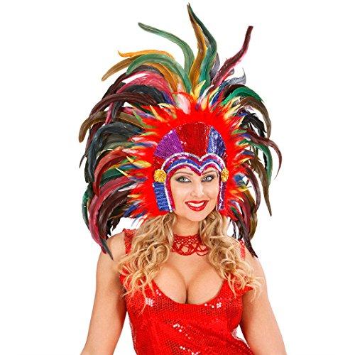 Brasilianischer Feder Kopfschmuck Rio Karneval Federkopfschmuck Samba Tänzerin Federkopfschmuck Drag Queen Travestie Federschmuck Showtanz Kopf Schmuck Haarschmuck Feder Kopfbedeckung Burlesque Mottoparty Accessoires Fasching Kostüm Zubehör