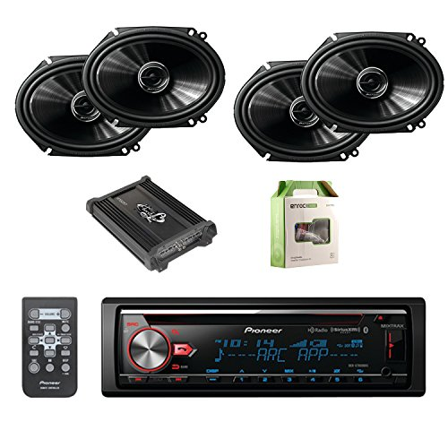 Pioneer CD Bluetooth Receiver with Enhanced Audio Functions W/Pioneer 250W 6.8 Inch 2Way Coaxial Car Audio Speakers 2-pairs, Lanzar Heritage Mosfet Amplifier & Enrock Amplifier Wiring Installation Kit