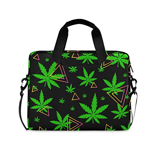 PUXUQU Laptop Bag Green Leaves Hemp Marijuana Laptop Case for 14-15.6 Inch Computer and Tablet Shoulder Bag Carrying Case for Work Office School