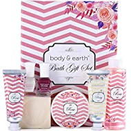 Bath Gift for Women, Spa Gifts Box for Her - Rose Scented Luxurious 7 Piece Spa Kit for Women, Includes Shower Gel, Hand Creams, Body Butter and More