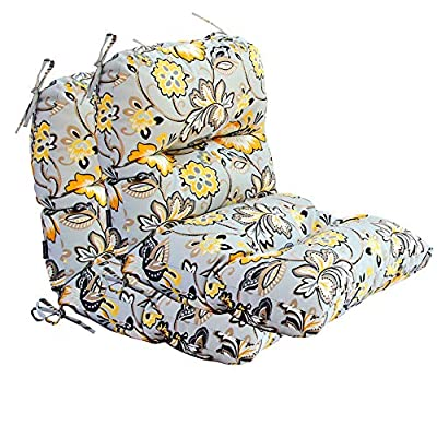 BOSSIMA Outdoor Indoor High Back Chair Tufted Cushions Comfort Replacement Patio Seating Cushions Set of 2 (Flower Prints Grey)