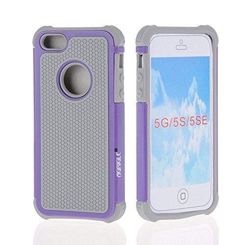 AGRIGLE Shock- Absorption/High Impact Resistant Hybrid Dual Layer Armor Defender Full Body Protective Cover Case Compatible with iPhone 5/5S/SE 2016 (Grey-Purple)