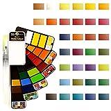 Godyluck- 33 Colores Set de Pinturas de Acuarela con Pincel de Agua y Esponja y Paleta Pigmento de Acuarela sólida Set de Pintura de Acuarela portátil en Forma de Abanico para Principiantes Artistas