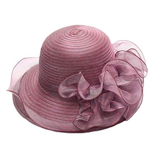 Sombreros Grandes para Mujer Elegantes, Estilo Vintage, ala Ancha, Sombrero para Fiesta, Boda, Playa, Vacaciones Morado...