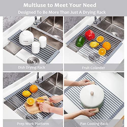 2 Pack Roll-up Dish Drying Rack, YIHONG 17 x13 Inch Over Sink Dish Rack, Foldable Utensil Plates Holders for Dishes, Vegetable and Fruit, Gray