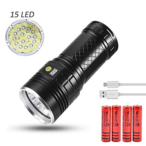 Linterna LED alta potencia Linterna táctica recargable USB con 15x T6 LED, LUXNOVAQ 15000 lúmenes Super brillante Linterna de mano impermeable con 4 modos y pantalla de potencia y 4 baterías