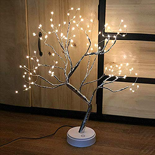 ZDGM Baum Licht Berührungsschalter, Pearl Starry LED Kupferdraht Lampe Nachtlicht, Batterie, USB betriebenes Nachtlicht, für Wohnzimmer Schlafzimmer,108LEDwarmlight