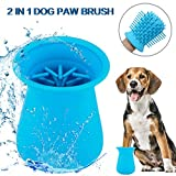 Pikolai 2020 Upgrade Dog Paw Cleaner & Grooming Brush Cup 2 in 1 Silicone Pet (Puppy) Paw Cleaner Quick Wash Muddy Paws Cup for Dogs and Cats (Blue)