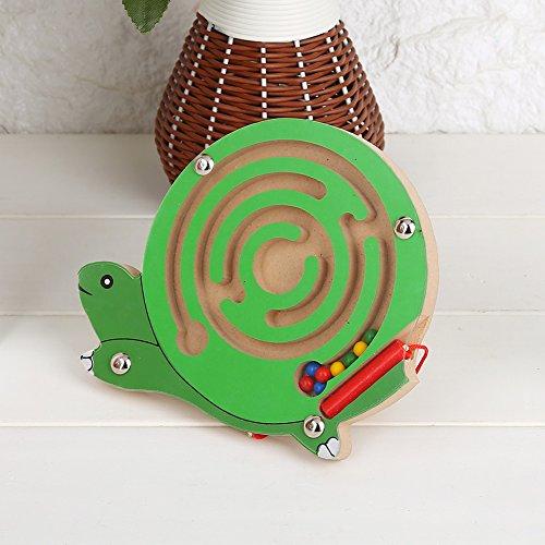 Doolhof Magnetisch spel Houten magnetisch doolhof Educatief intellectueel kinderspeelgoed Puzzelspel Pen Gift Houten speelgoed Magnetisch puzzelbord voor kindereducatie (schildpad)