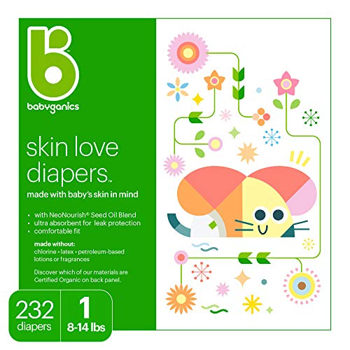 Babyganics Ultra Absorbant Diapers, Size 1, 232 ct