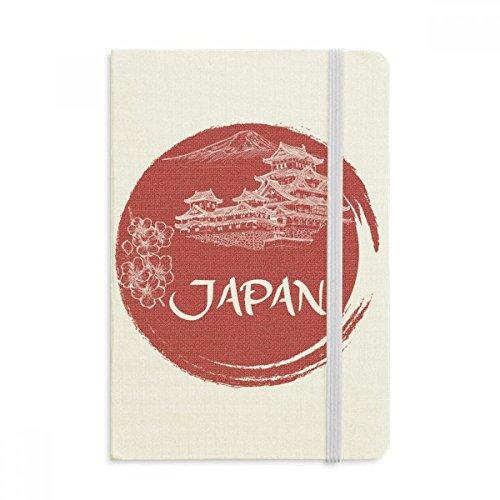 DIYthinker Japón Templo de la bandera nacional del cuaderno rojo duro de la cubierta de tela clásico Diario Diario A5 A5 (144 x 210 mm) Multicolor