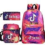Travel TIK Tok Girls School Casual Daypacks Set Mochila Escolar para Estudiantes + Bolso pequeño + Bolso para bolígrafo Conjunto de Tres Piezas V-3