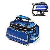 Fahrrad Packtasche,Tragbar Im Freien Wasserdicht Langlebig Multifunktion Fahrrad Packbag Fahrrad Packtasche,Fahrrad Rücksitz Handtasche mit Regenschutzhülle Reflexstreifen(Blau)