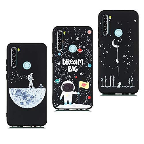 HopMore 3 Pack Negro Funda para Xiaomi Redmi Note 8T Silicona Blando Antigolpes Dibujos Espacio Universo Space Carcasas Gracioso TPU Carcasa Resistente Ultrafina Cover Protección - B Motivo