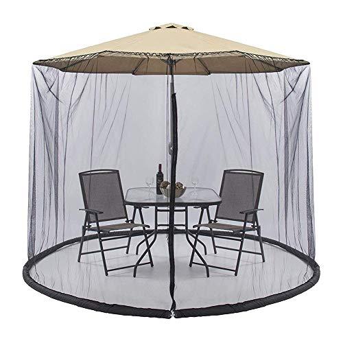 Outdoor-Sonnenschirm Tischschirm Patio-Regenschirm-Moskitonetz mit Reißverschlussöffnung und Wasserschlauch an der Basis zum Festhalten - Hilft vor Mücken zu schützen - Für 9-Fuß-Regenschirm