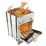 Fujida Parrilla portátil estufa de camping menos humo extra estable estufa de leña de acero inoxidable para barbacoa camping mochilero