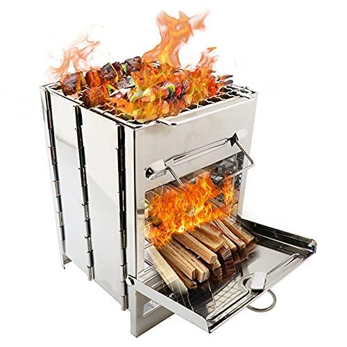 Zuoye Tragbarer Grill Campingkocher weniger Rauch, extra stabiler Edelstahl-Holzofen für Grillen, Camping, Rucksackreisen