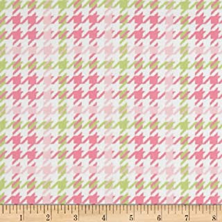 Robert Kaufman Cozy Cotton Flannel Houndstooth Fabric, Pink, Fabric by the yard